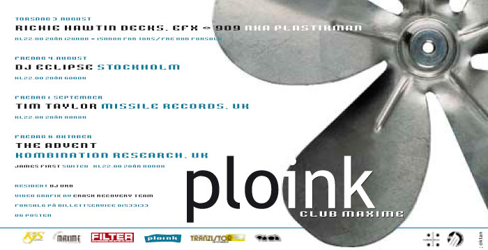 Ploink at Maxime<br>Autumn 2000, Bergen<br>Various Dates & Artists